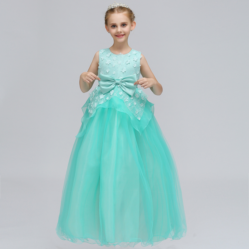 2018 New Elegant Formal Summer Flower Girls Wedding Party Dress Pageant Gown Kids Baby Teen Princess Children Evening Dresses toddler kids baby girls princess dress party pageant wedding dresses with waistband