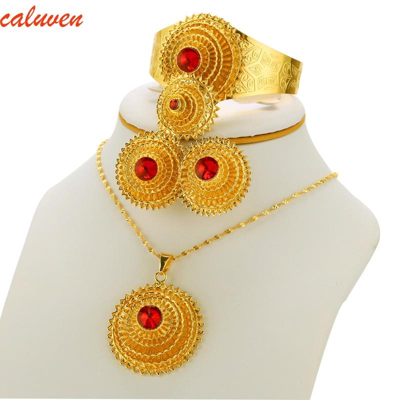 ست جواهرات اتیوپی گردنبند آویز / النگو - جواهرات مد