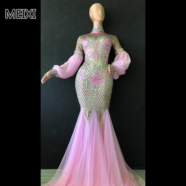 Super shiny pink glass diamond rhinestone elastic dress bar nightclub concert singer dancer costume