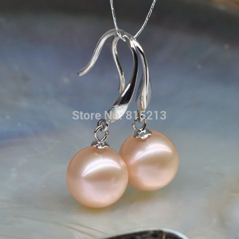 wb00428 aaa 10-11mm Round Natural pink Akoya Pearl Dangle Earrings 925 Silver