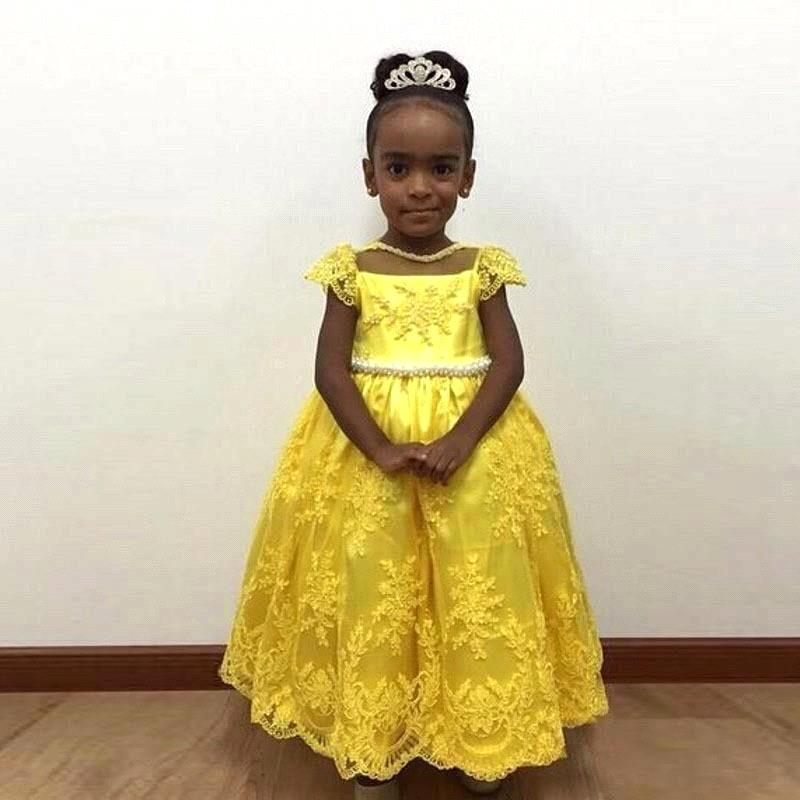 2019 New Style Adorable Yellow   Flower     Girl     Dresses   Beaded Ball Gown   Girls   Lace Appliques   Flower     Girl     Dress   Prom Pageant   Dresses