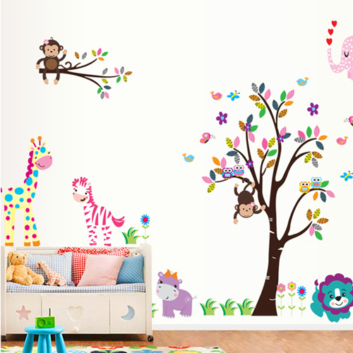 156*280cm Extra Large Cute Owl Monkey Tree ZOO Removable Home Decor Wall Sticker Vinyl Art Decal for Nursery Kids Room