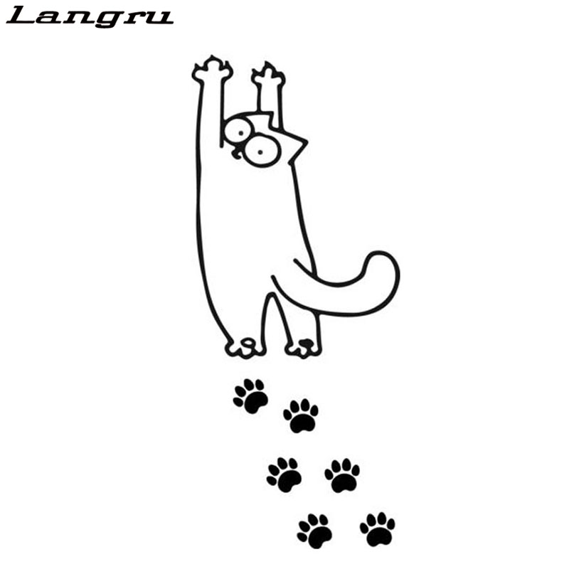 Langru Hot Sale Car Stying Simon Cat Stretches Hand Print Cartoon - print for sale sign for car
