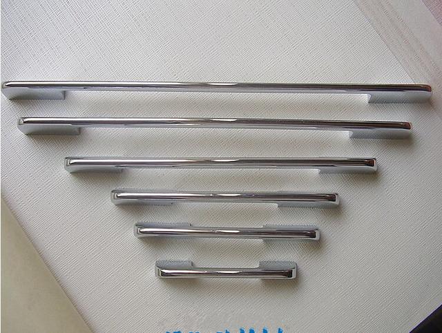 256mm mobiliário moda moderna simples grandes alças prata brilhante armário de cozinha porta do armário alças puxa chrome dresser pull
