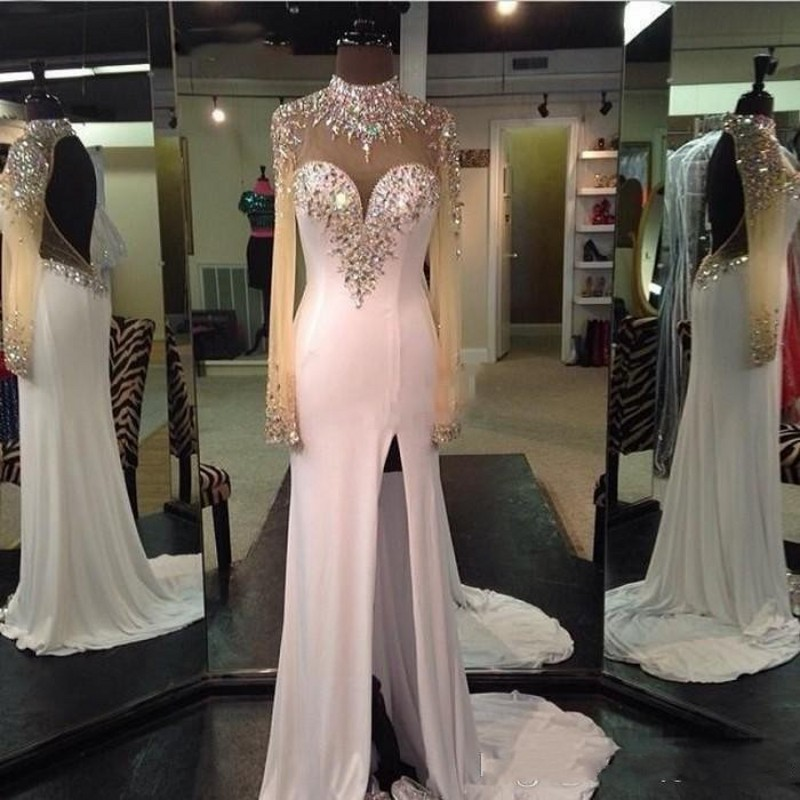 Split Evening Dress Chiffon Full Sleeve Long Evening Dresses Crystals Open Back Robe de soiree Abendkleider