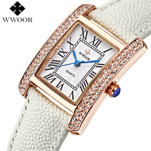 Marca de lujo de Cuero Genuino Cuadrado relogio feminino Oro Rosa Reloj de Vestir Casual de Las Señoras Mujeres Del Reloj de Cuarzo Relojes Reloj Femenina