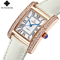 Marca de luxo de Couro Genuíno Quadrado relogio feminino Rose Gold Dress Watch Senhoras Casuais Relógio De Quartzo Das Mulheres Relógios Relógio Feminino