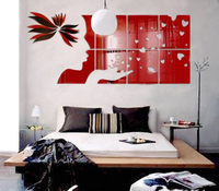 Free shipping Dream Girl 3D Acrylic mirror Wall Stickers Living room Fashion Wall Stickers Embossed TV wall DIY Art decor
