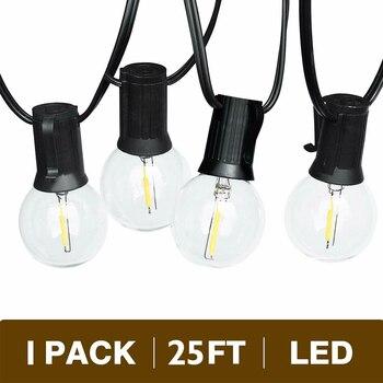 G40 LED ضوء سلسلة مع 25Ft واضح غلوب لمبات شنقا داخلي و خارجي للماء الزخرفية الباحة حديقة مطعم