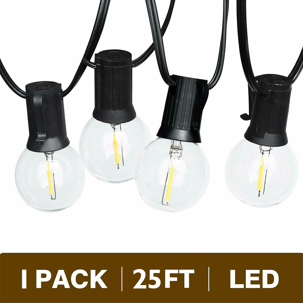 G40 LED String Light With 25Ft Clear Globe Bulbs Hanging Indoor & Outdoor Waterproof Decorative Patio Garden Restaurant