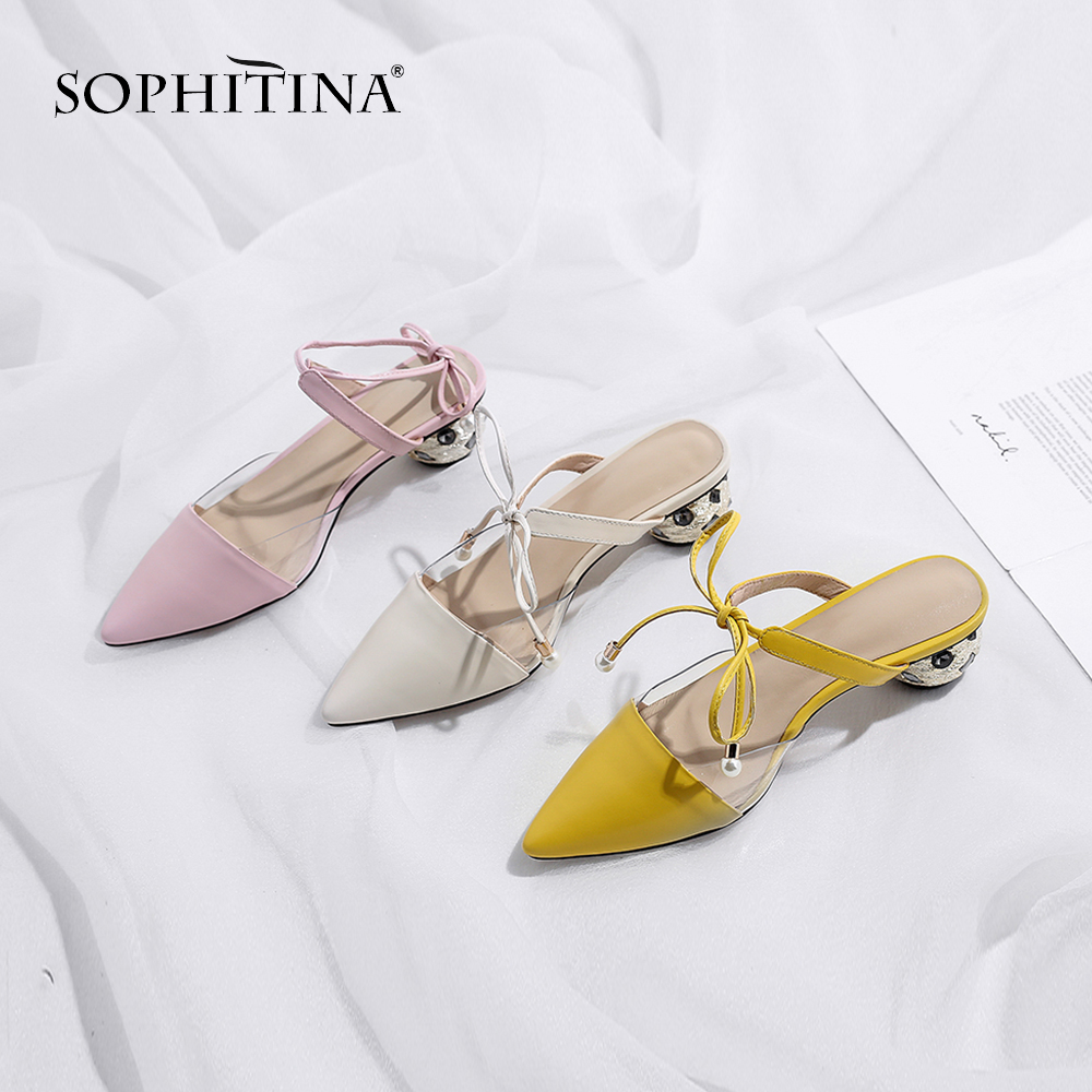 SOPHITINA Sweet Solid Women s Sandals Fashion Strange Style Ankle Strap Cross tie Shoes High Quality