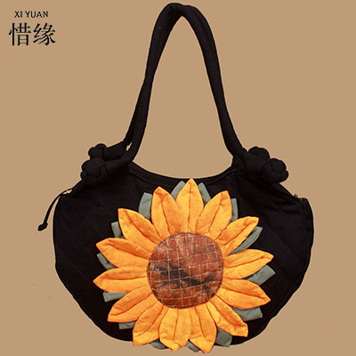 XIYUAN BRAND womans special Casual pure handmade Shopping shoulder hand Bag Tote Storage Bags Convenience sunflower Linen Bag huifengazurrcs new pure handmade casual