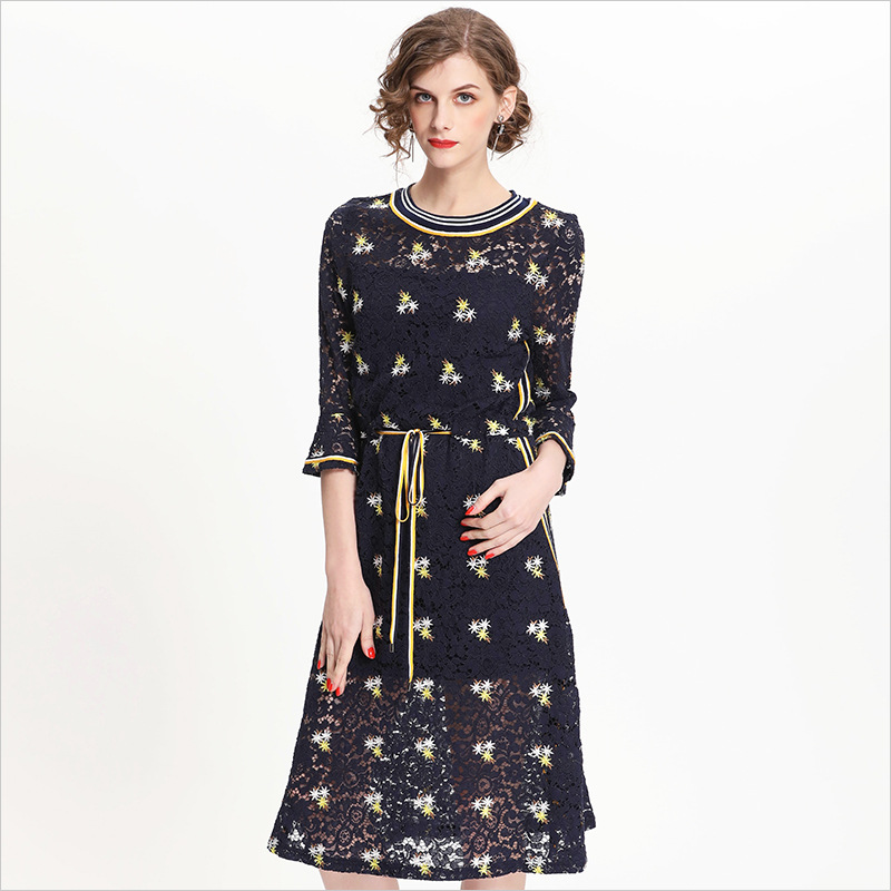0ad81a18679 2018 new summer European boutique Amazon large size women embroidery lace  dress horn Q71-in Dresses from Women s Clothing   Accessories on  Aliexpress.com ...