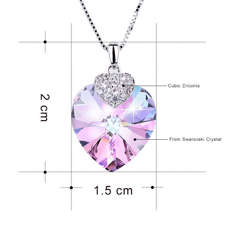 HTB1WLobbfvsK1Rjy0Fiq6zwtXXaB Swarovski Crystal Necklace Heart Shape Amethyst Crystal Pendant Necklace Fashion Jewelry Choker Necklace Gift for Lady Collares