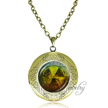 Handmade Jewelry Radiation Pendant Necklace Radioactive,Chemistry,Science,Physics Jewelry Vintage Memory Living Locket Necklace