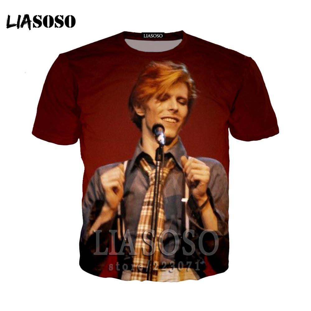 LIASOSO Fashion shirts Bowie David in men's T-shirt Rock hiphop 3D printed t shirt good quality brand  Casual bo12