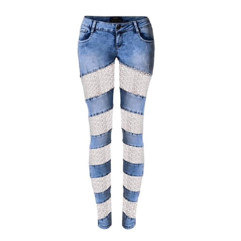 Women sexy denim pants fashion new lace patchwork sexy hollow out low waisted skinny casual pencil jeans SP2108 hollow out lace patchwork plain designed casual pants