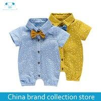 Taoqimaidou 2017 Summer Short Sleeve Rompers Bodysuit Shirt Tie Newborn Infantil Baby Clothes Jumpsuit PlayFul100