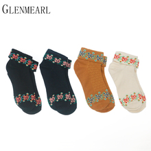 4 Pair/Lot Cotton Women Socks Vintage Cute Flower Spring Fall Brand Cool Compression Coolmax Quality Hosiery Ankle Female Socks