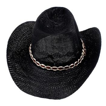 Hombres rollo ajustable trenzado negro de ala ancha sombrero de vaquero ac326bf193b