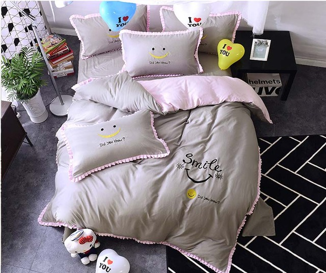 Beau 2017 New New Cute Smiley Face Twin Full Queen King Size 4pcs Bedding Set  Bedclothes Set