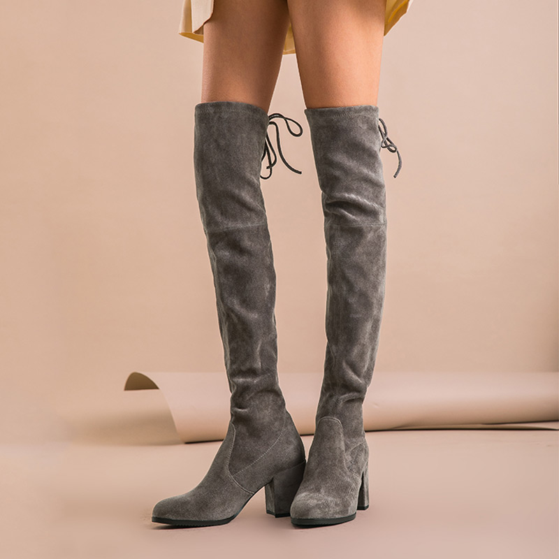 Image 3 - BeauToday Over The Knee Boots Women Kid Suede Leather Stretch Fabric High Heel Top Quality Lady Winter Long Boots Handmade 01011-in Over-the-Knee Boots from Shoes