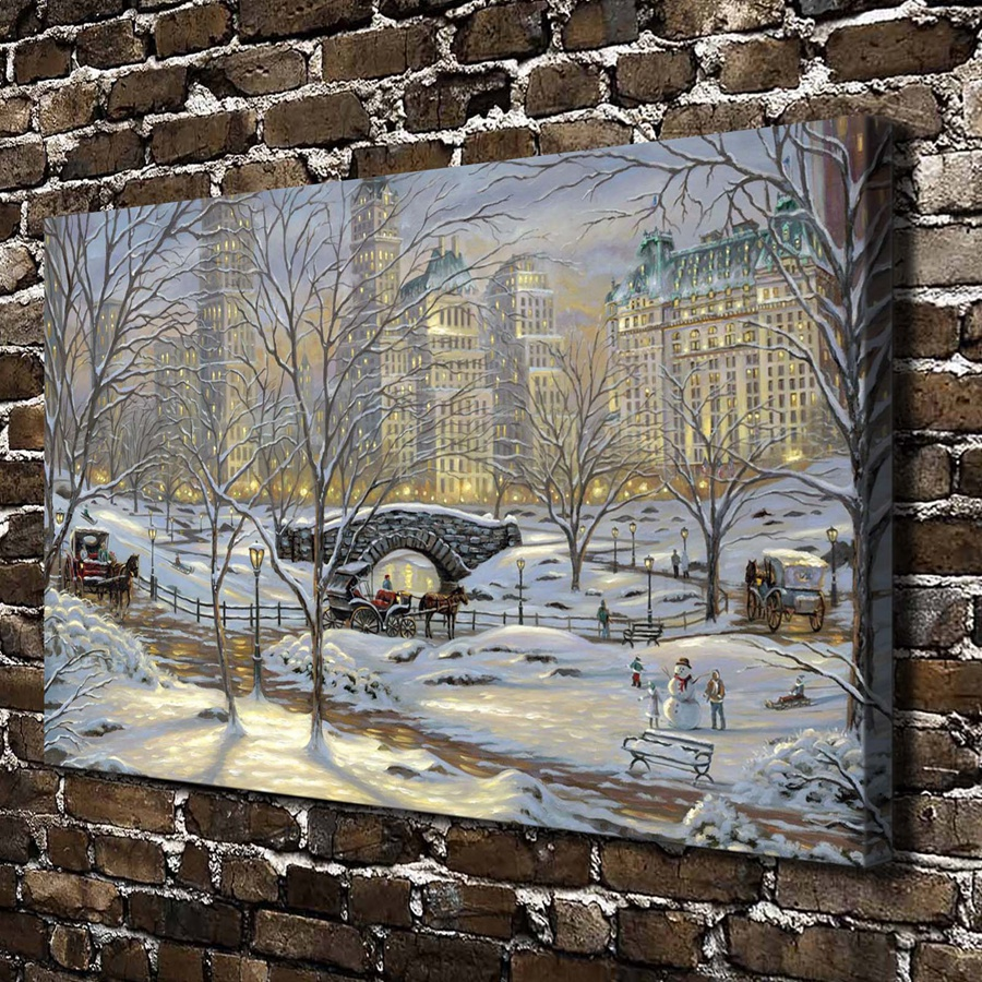 1147 Winters eve Robert Finale Snowman Landscape.HD Canvas Print Home decoration Living Room bedroom Wall pictures Art painting