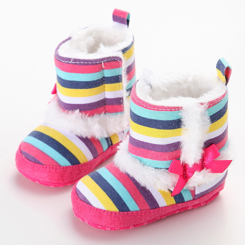 Infant Girl Shoes Baby Boy Shoes New Fashion Rainbow Children S Shoes Warm Casual Cotton Shoes YEW338