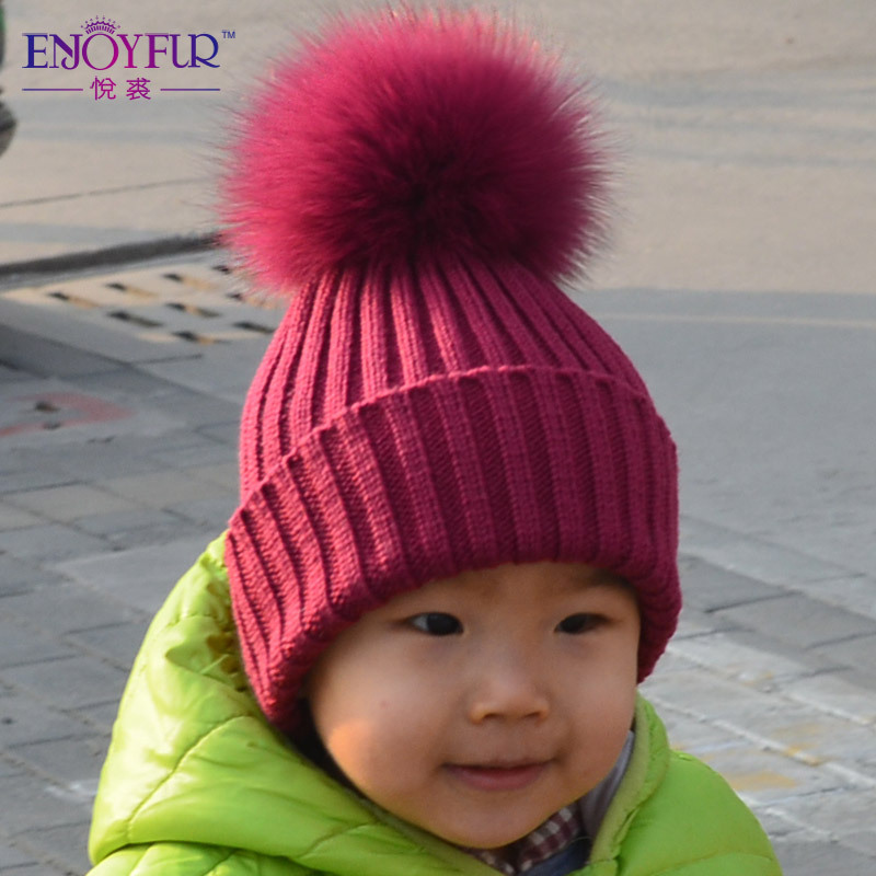ENJOYFUR Boys Girls Real Fox Raccoon Fur Pom Poms Winter Wool Knitted Kids Hats  Baby Caps Good Quality 2016 Hot Sale Kids Caps-in Hats   Caps from Mother  ... a1e1eb9bb80