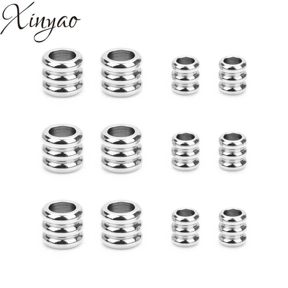 XINYAO 20pcs/lot Stainless Steel Spacer Charm Beads Silver Tone For DIY Women Men Necklace Jewelry Making Finding Supplier