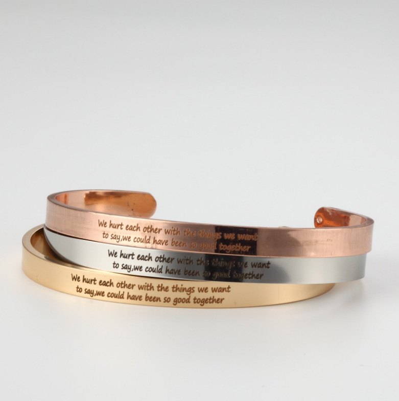 Stainless Steel Cuff Bangle Engrave we hurt each other with the things... Inspirational Friendship Bracelet For Friends