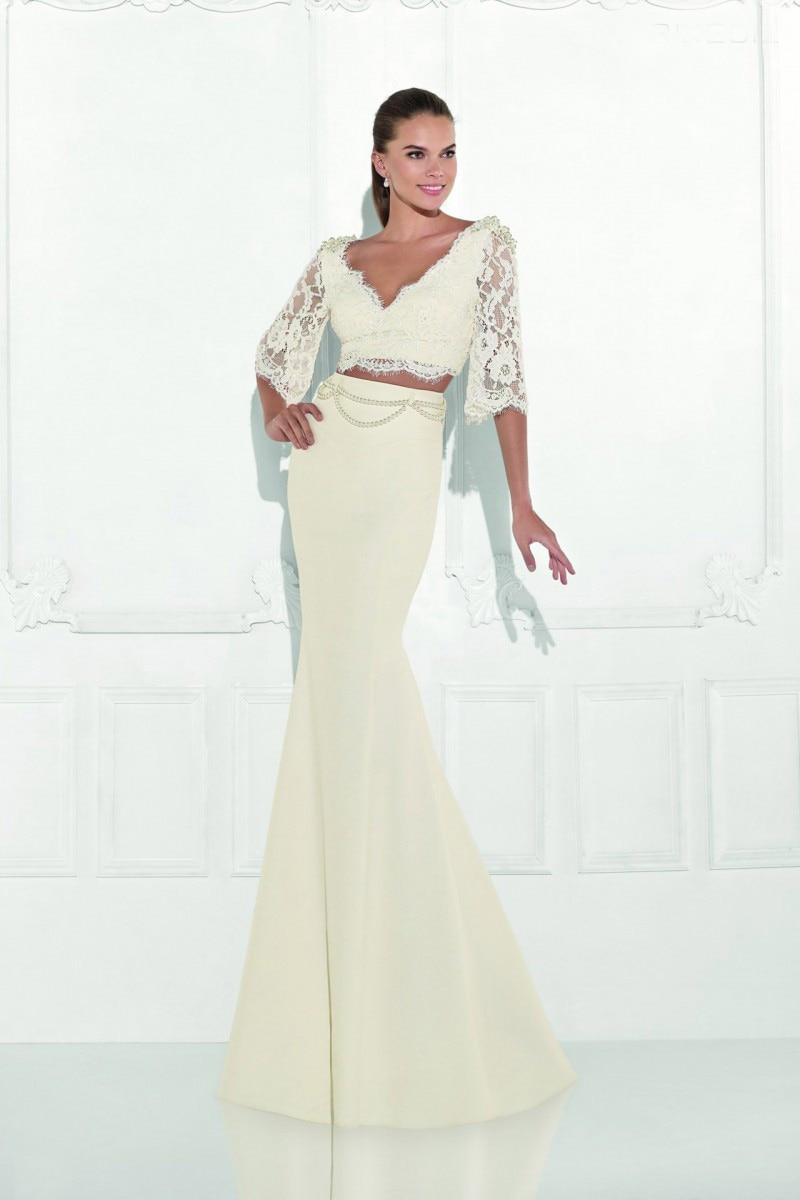 Tarik Ediz Delicate Lace And Taffeta Two Piece White Mermaid Prom