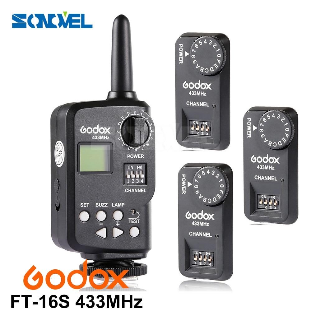 Godox Ft-16s Flash Trigger Remote Wireless Power Control 1x Transmitte+3x Receiver for Godox V850 V860 V850II V860II 2x godox v860c new li ion speedlite flash 1x ft 16s wireless trigger transimitter 2x receiver