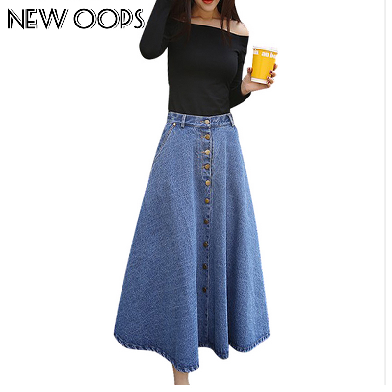 new 2016 blue denim skirts womens button vintage
