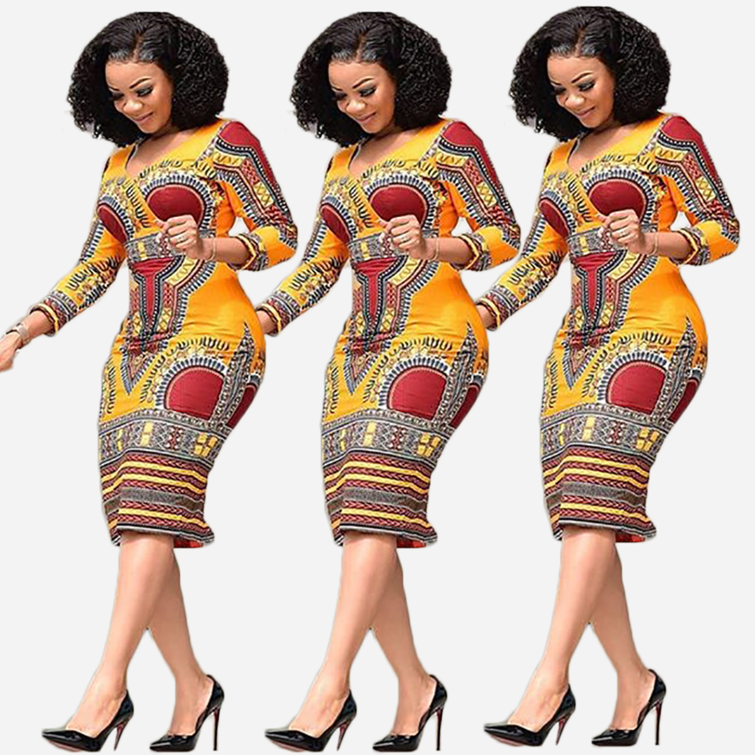 African Clothing New Women Fashion Summer Short Sleeve Dress Casual Deep V-Neck Traditional African Print Party Dresses