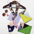 Luna&Dolphin Famous Letter Skinny Silk Scarf Leopard Print  Women Small Satin Twilly Hair Band Bag Handle Decoration  Headwear