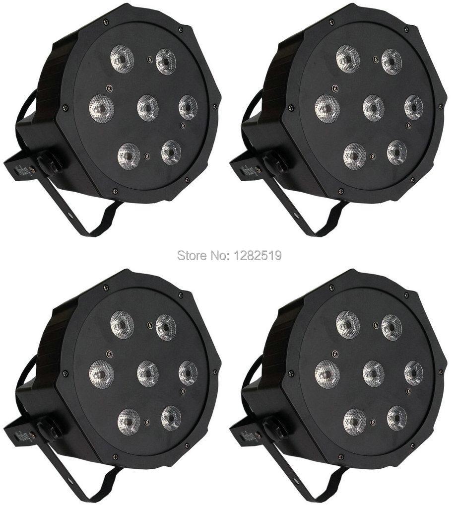 4pcs 7*10W 4in1 high quality RGBW LED PAR Can Slim Par Light 70W DMX Stage disco event lights free shipping 16 lot dmx 18x10w rgbw led par can light for stage decoration