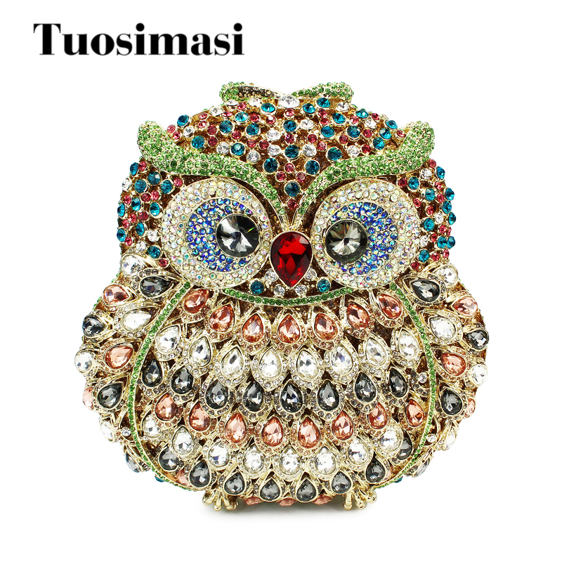 Hollow Out Multi Stones Women Owl Crystal Clutch Evening Bags Bridal Wedding Party Prom Handbag Purse Metal Clutches With Chain multi crystal sexy lips women evening bag hollow out metal clutches bridal clutch purse wedding diamond handbag bolsa de cristal