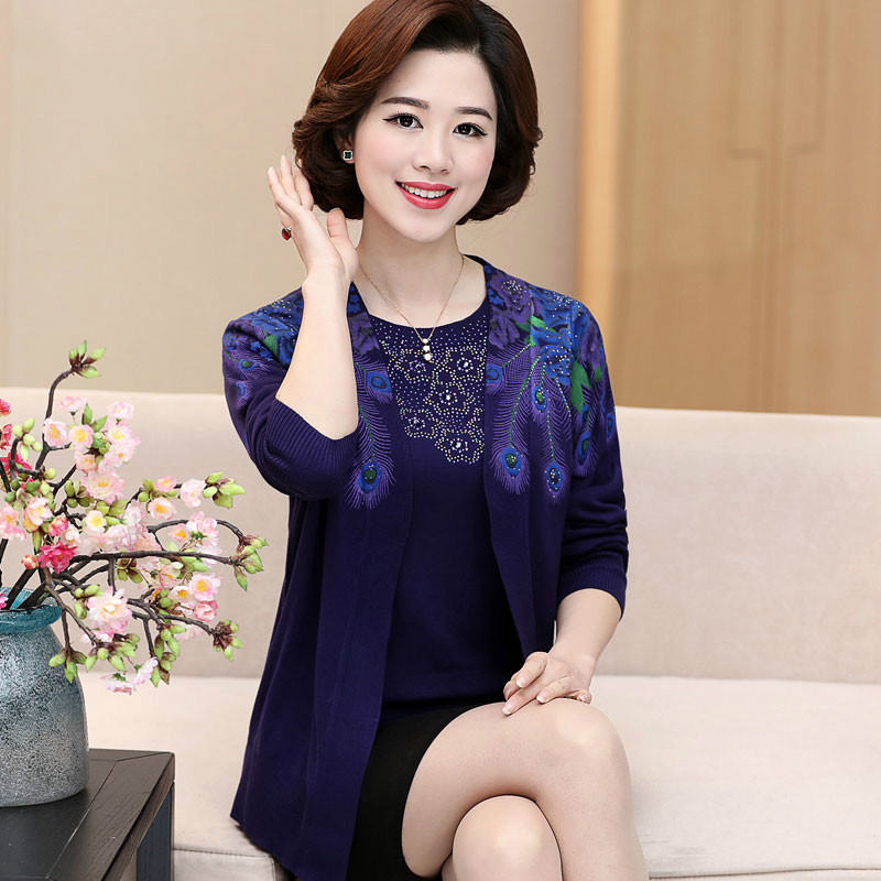 Middle-aged women's spring 2019 female new summer two-piece suit middle-aged elderly tide