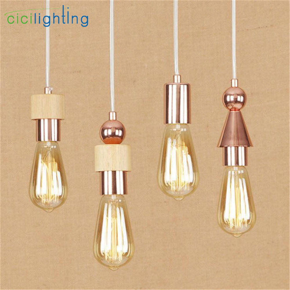 2018 New Art designer mini pendant lights Wood Metal E27 ...