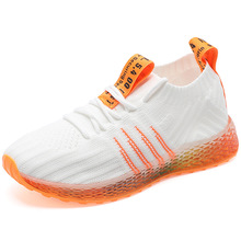 цена на Summer flying woven fabric breathable girls mesh sports shoes boys and girls breathable mesh sneakers