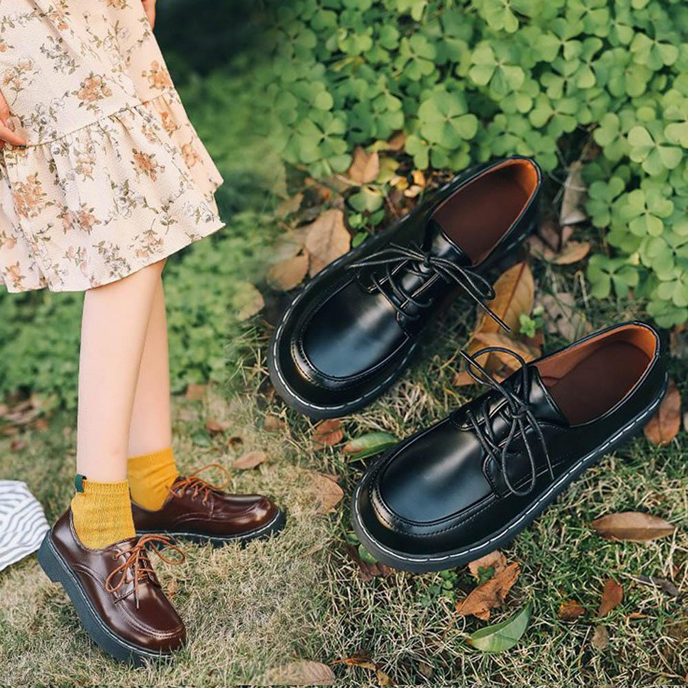 Rond Étudiant Cosplay Chaussure Uwabaki Chaussures Uniforme Jk Noir Plates Femmes Mori Seule Fille Brun Collège Noir Bout École Oxforda marron 715qnncxz6
