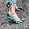 Woman High Fashion Sexy Stiletto Thin High Heels Shallow Mouth Pointed Toe Velvet Diamond Buckle Shoes