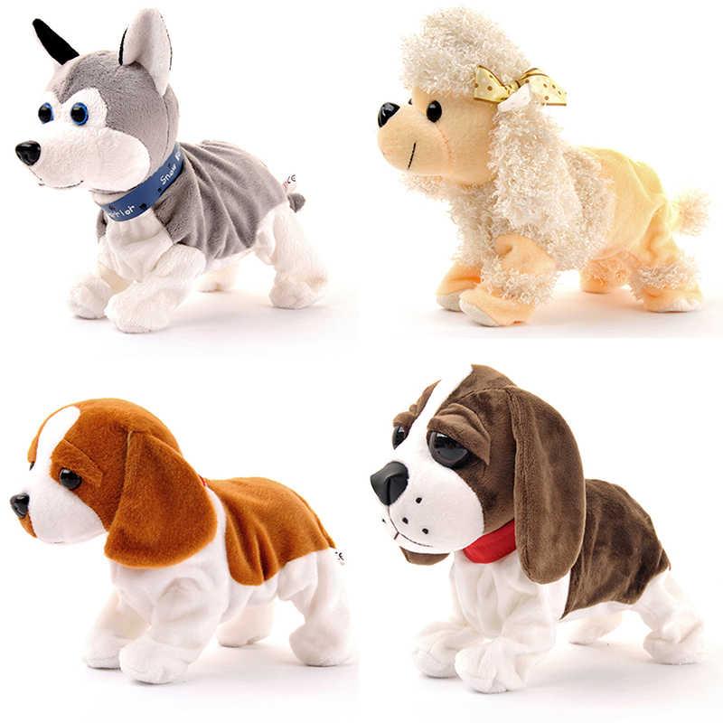 1pc kontrola dźwięku elektroniczne psy interaktywne zwierzęta Robot kora stojak spacer zabawki dla dzieci chłopcy dziewczęta Kawaii Party prezenty lalki