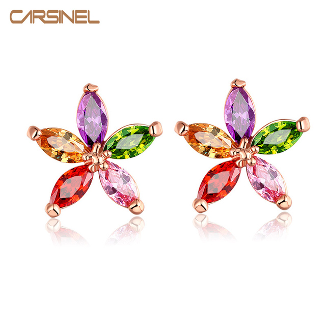 CARSINEL Fashion Multi Color Stone Zircon Star Shape Stud Earrings