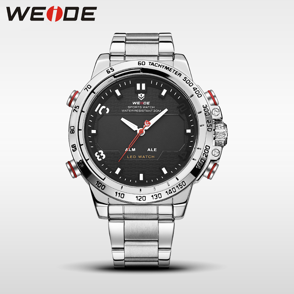 WEIDE steel series watches luxury brand sport led digital shockproof waterproof watch black quartz watches clock horloges mannen watch men led digital waterproof wristwatch casual man sport watches 2017 new weide famous brand saat erkekler horloges mannen