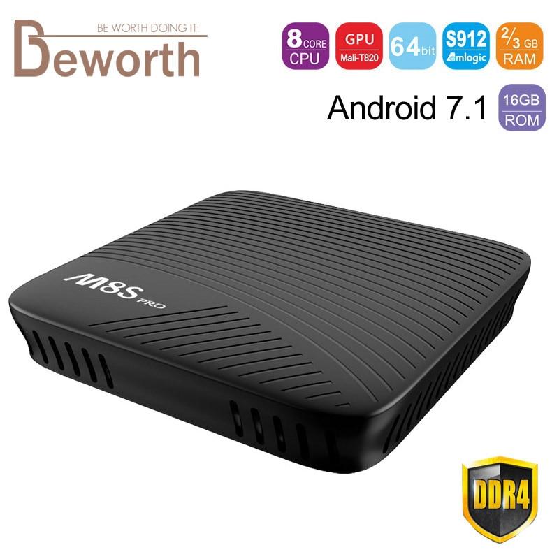 Mecool M8S Pro Android 7.1 Smart TV Box 2G / 3GB DDR4 RAM 16GB Amlogic S912 Octa Core Media Player 2.4G/5G Wifi Bluetooth 32G mecool bb2 pro amlogic s912 3gb ddr4 16gb emmc tv box rii i8 black