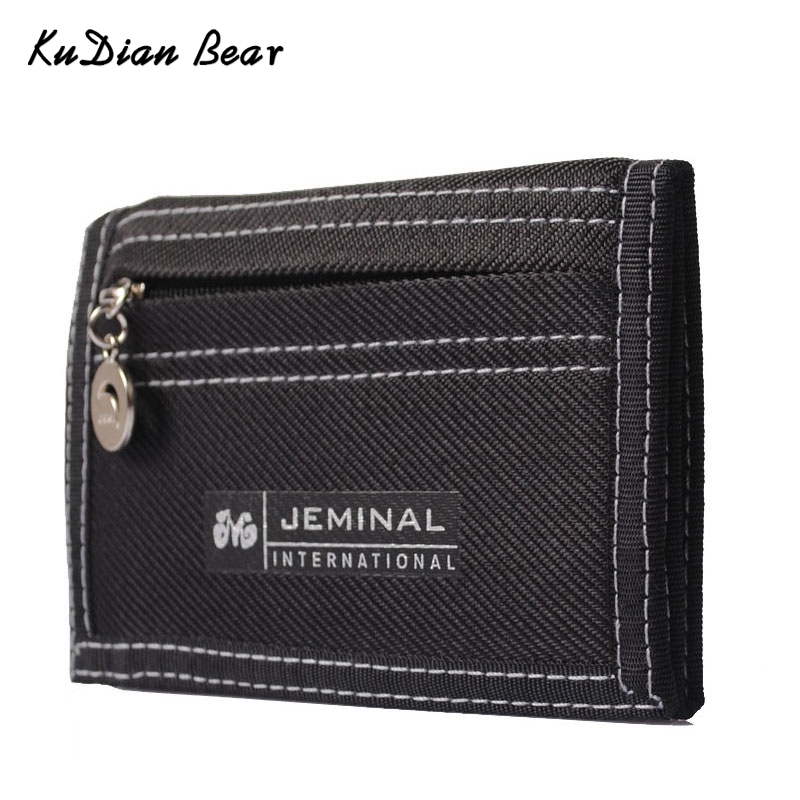 KUDIAN BEAR Causal Canvas Men Wallet Coin Pocket Short Designer Wallet  Coin Purse Zipper Card Holder For Teenager --BID047 PM15(China)