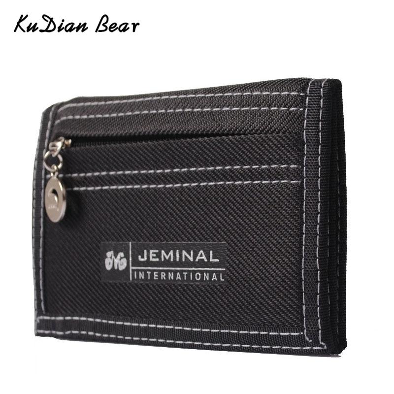 KUDIAN BEAR Causal Canvas Men Wallet Coin Pocket Short Designer Wallet  Coin Purse Zipper Card Holder For Teenager --BID047 PM15