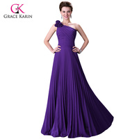 Evening Dresses 2016 Grace Karin Chiffon Elegant One Shoulder Long Party Dress Pleat Red Purple Royal